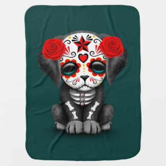 Cute Red Day of the Dead Puppy Dog Teal Receiving Blanket