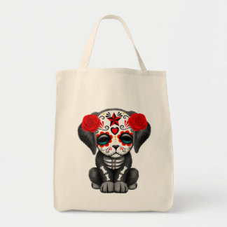 Cute Red Day of the Dead Puppy Dog Tote Bag