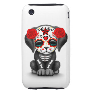 Cute Red Day of the Dead Puppy Dog White Tough iPhone 3 Cases
