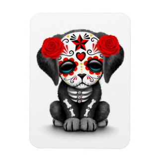 Cute Red Day of the Dead Puppy Dog White Magnet