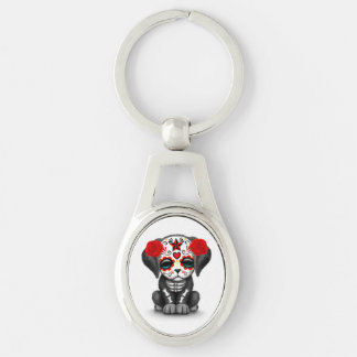 Cute Red Day of the Dead Puppy Dog White Keychains