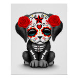 Cute Red Day of the Dead Puppy Dog White Posters