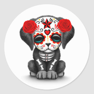 Cute Red Day of the Dead Puppy Dog White Classic Round Sticker