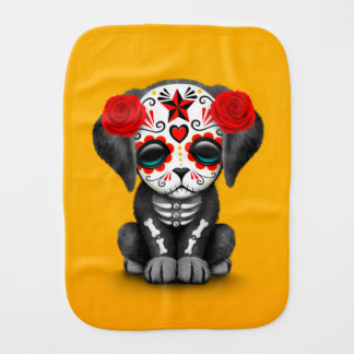 Cute Red Day of the Dead Puppy Dog Yellow Baby Burp Cloth