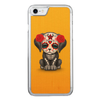 Cute Red Day of the Dead Puppy Dog Yellow Carved iPhone 7 Case