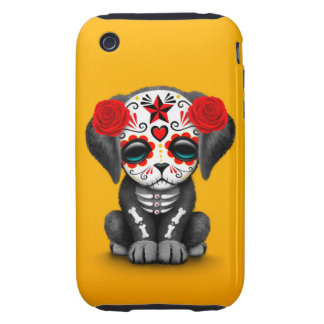 Cute Red Day of the Dead Puppy Dog Yellow iPhone 3 Tough Cover