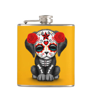 Cute Red Day of the Dead Puppy Dog Yellow Hip Flasks