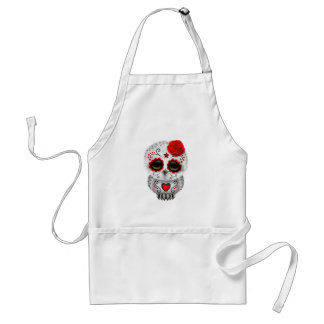 Cute Red Day of the Dead Sugar Skull Owl Adult Apron