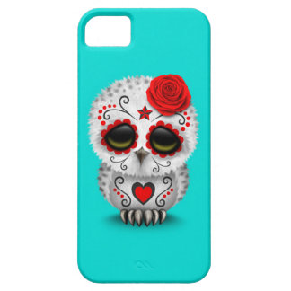 Cute Red Day of the Dead Sugar Skull Owl Blue iPhone 5/5S Covers