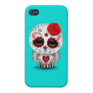 Cute Red Day of the Dead Sugar Skull Owl Blue Covers For iPhone 4