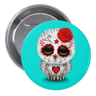 Cute Red Day of the Dead Sugar Skull Owl Blue Pinback Button