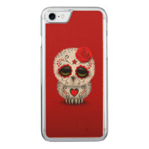 Cute Red Day of the Dead Sugar Skull Owl Carved iPhone 7 Case