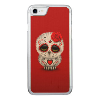 Cute Red Day of the Dead Sugar Skull Owl Carved iPhone 8/7 Case