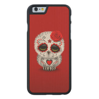 Cute Red Day of the Dead Sugar Skull Owl Carved Maple iPhone 6 Case