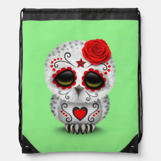 Cute Red Day of the Dead Sugar Skull Owl Green Drawstring Bag