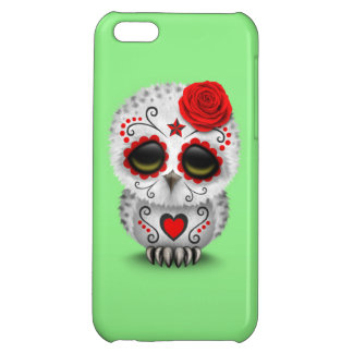 Cute Red Day of the Dead Sugar Skull Owl Green iPhone 5C Case