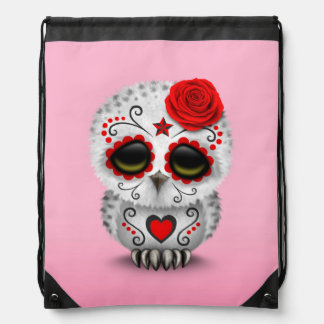Cute Red Day of the Dead Sugar Skull Owl Pink Backpack