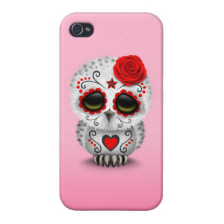 Cute Red Day of the Dead Sugar Skull Owl Pink iPhone 4 Cases