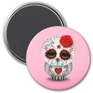 Cute Red Day of the Dead Sugar Skull Owl Pink 3 Inch Round Magnet