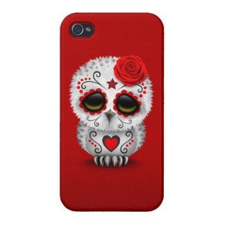 Cute Red Day of the Dead Sugar Skull Owl Red iPhone 4/4S Case