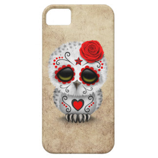 Cute Red Day of the Dead Sugar Skull Owl Rough iPhone 5 Cover