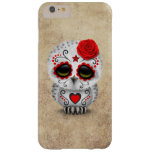 Cute Red Day of the Dead Sugar Skull Owl Rough Barely There iPhone 6 Plus Case