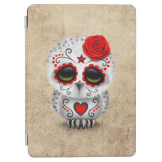 Cute Red Day of the Dead Sugar Skull Owl Rough iPad Air Cover