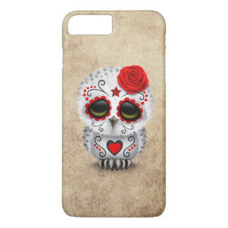 Cute Red Day of the Dead Sugar Skull Owl Rough iPhone 7 Plus Case