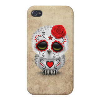 Cute Red Day of the Dead Sugar Skull Owl Rough Covers For iPhone 4