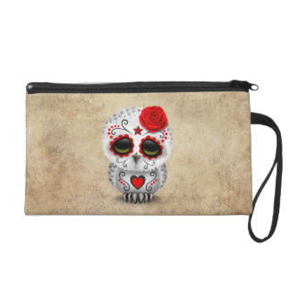 Cute Red Day of the Dead Sugar Skull Owl Rough Wristlet Purse