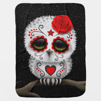 Cute Red Day of the Dead Sugar Skull Owl Stars Baby Blanket