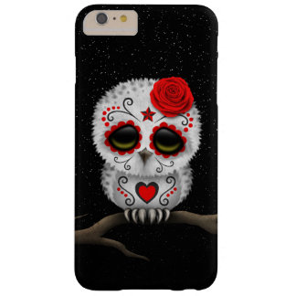 Cute Red Day of the Dead Sugar Skull Owl Stars Barely There iPhone 6 Plus Case