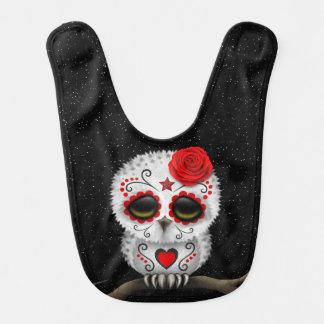 Cute Red Day of the Dead Sugar Skull Owl Stars Bib