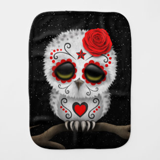 Cute Red Day of the Dead Sugar Skull Owl Stars Burp Cloth