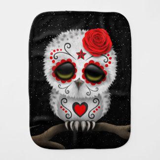 Cute Red Day of the Dead Sugar Skull Owl Stars Burp Cloth