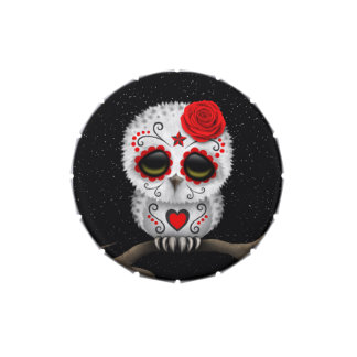 Cute Red Day of the Dead Sugar Skull Owl Stars Jelly Belly Tin