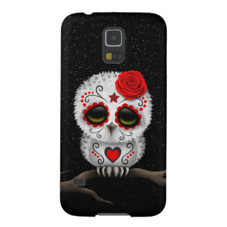 Cute Red Day of the Dead Sugar Skull Owl Stars Case For Galaxy S5