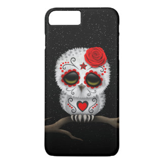 Cute Red Day of the Dead Sugar Skull Owl Stars iPhone 7 Plus Case
