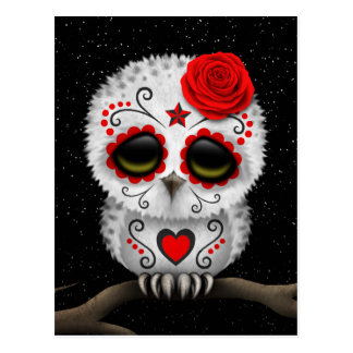 Cute Red Day of the Dead Sugar Skull Owl Stars Postcard