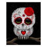 Cute Red Day of the Dead Sugar Skull Owl Stars Poster
