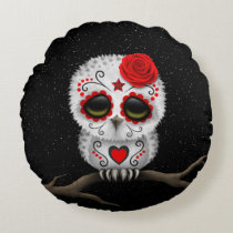 Cute Red Day of the Dead Sugar Skull Owl Stars Round Pillow