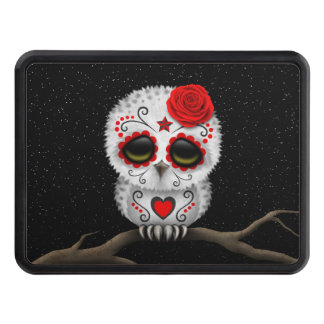 Cute Red Day of the Dead Sugar Skull Owl Stars Tow Hitch Cover