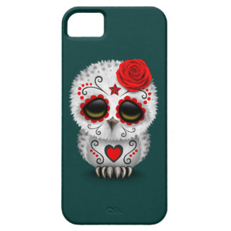 Cute Red Day of the Dead Sugar Skull Owl Teal Cover For iPhone 5/5S