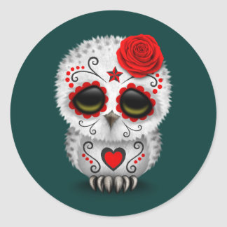 Cute Red Day of the Dead Sugar Skull Owl Teal Classic Round Sticker