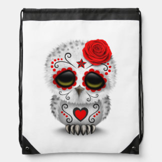 Cute Red Day of the Dead Sugar Skull Owl White Cinch Bag