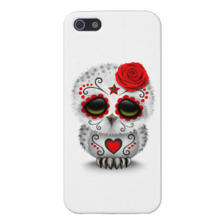 Cute Red Day of the Dead Sugar Skull Owl White iPhone 5/5S Cover