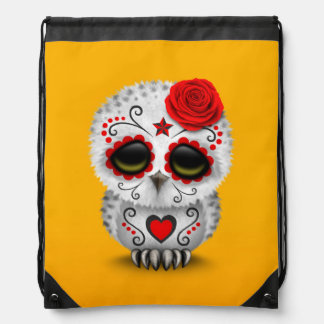 Cute Red Day of the Dead Sugar Skull Owl Yellow Drawstring Backpack