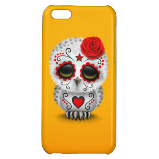 Cute Red Day of the Dead Sugar Skull Owl Yellow Cover For iPhone 5C