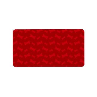 Cute red dog bones pattern label