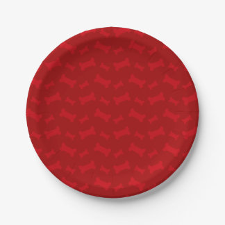 Cute red dog bones pattern paper plate